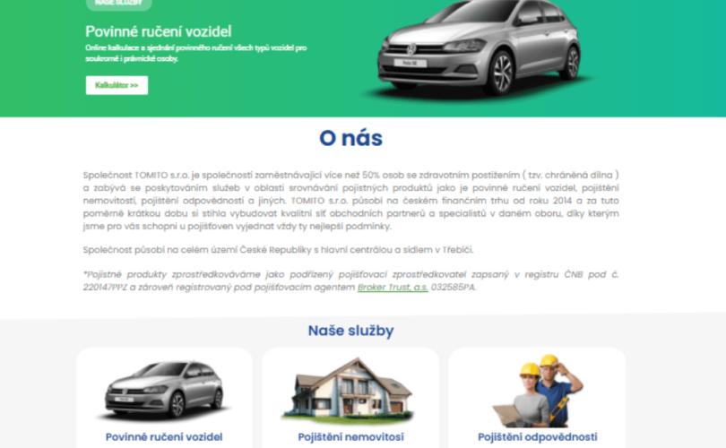 Webové stránky společnosti TOMITO s.r.o.
